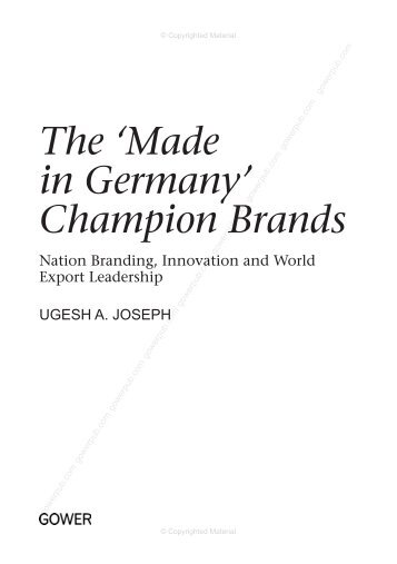 The 'Made in Germany' Champion Brands - Ashgate