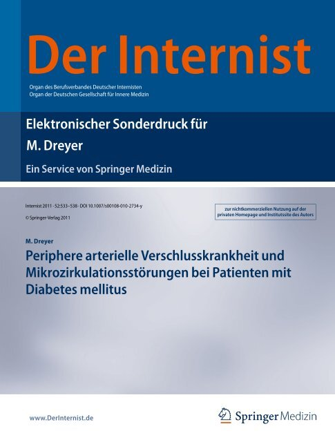 Elektronischer Sonderdruck für Periphere arterielle ... - Asklepios