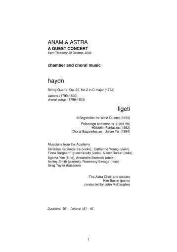 haydn ligeti - Astra Chamber Music Society