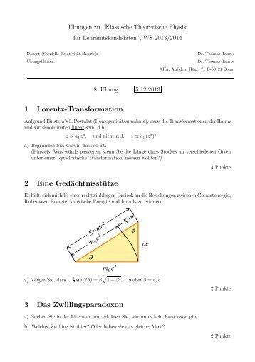 θ ϕ 1 Lorentz-Transformation 2 Eine Gedächtnisstütze 3 Das ...