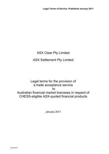 Trade Acceptance Service - ASX - Australian Stock Exchange
