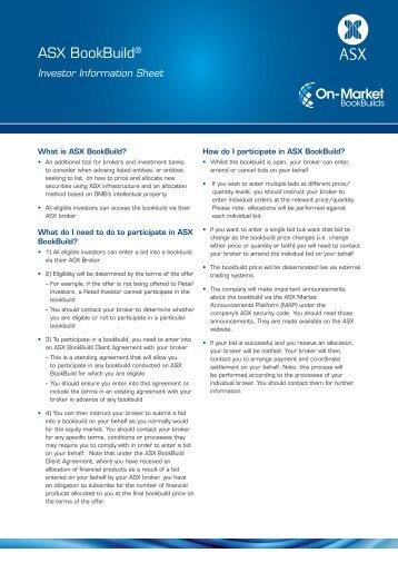 ASX bookbuild investor information sheet