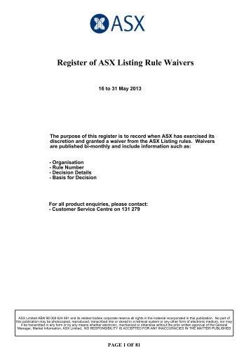 Register of ASX Listing Rule Waivers - Australian Stock Exchange