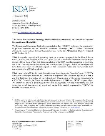 14 December 2012 Joshua Everson Australian Securities Exchange ...