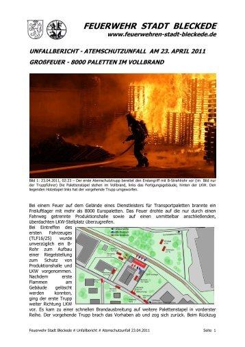 Unfallbericht Atemschutzunfall am 23.04.2011 in Bleckede
