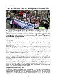 Vatikan und Iran: Gemeinsam gegen die freie Welt? - Atheisten-Info
