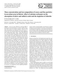 Mass concentration and ion composition of coarse and fine particles ...