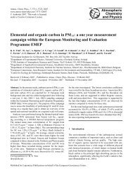 Elemental and organic carbon in PM10 - Atmospheric Chemistry ...