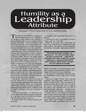 The humble leader lacks arrogance, not aggressiveness. The will to ...