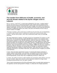 Two studies from AUB warn of health, economic, and security threats ...