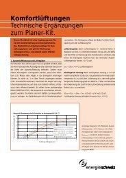 Komfortlüftungen Technische Ergänzungen zum Planer-Kit.