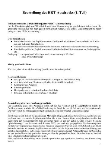 Beurteilung HRT-Ausdruck 1 - Augenärzte Thun und Umgebung