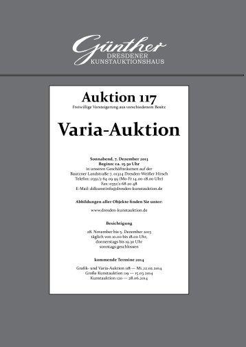 Varia-Katalog 117 - Kunstauktionshaus Günther in Dresden