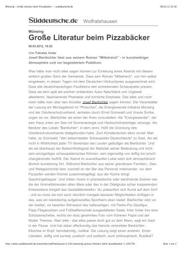 Münsing - Große Literatur beim Pizzabäcker ... - aurora-bar
