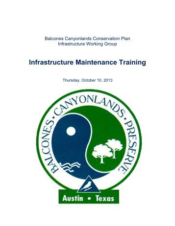 BCCP Infrastructure Workshop Booklet - AustinTexas.gov