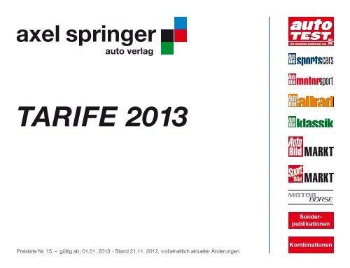 TARIFE 2013 - Axel Springer MediaPilot