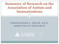 Summary of Research on the Association of Autism and Immunizations