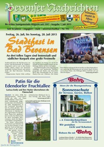 Juli 2013 - Bevenser Nachrichten