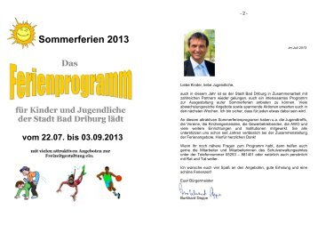 Ferienprogramm 2013 - Bad Driburg