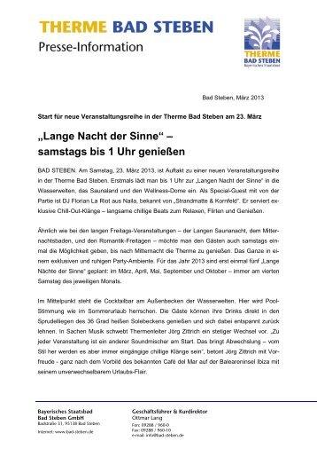 """""""Lange Nacht der Sinne"""" – samstags bis 1 Uhr genießen - Bad Steben"""