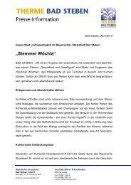 Pressemitteilung 07/2013 - Stemmer Wöchla - Bad Steben