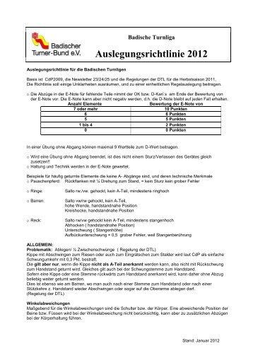 Auslegungsrichtlinie für die Bad - Badischer Turner Bund
