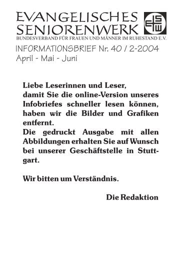 INFORMATIONSBRIEF Nr. 40 / 2-2004 April - Mai - Juni - BAGSO