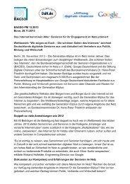 BAGSO-PM 13.2013 Bonn, 28.11.2013 Das Internet kennt kein Alter ...