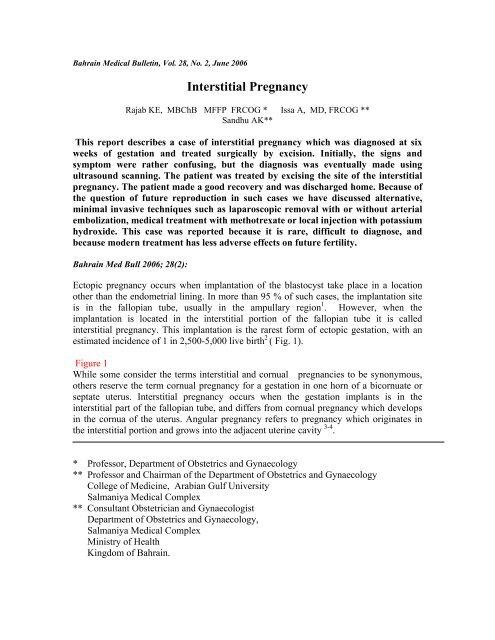 Interstitial Pregnancy - Bahrain Medical Bulletin