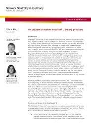 Network Neutrality in Germany - Baker & McKenzie