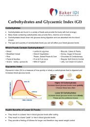 Carbohydrates and the Glycaemic Index - Baker IDI