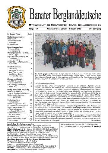 Folge 163 München-Wien, Januar - Februar 2013 29. Jahrgang