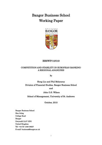 Competition and Stability in European Banking - Bangor University