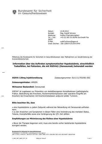 Information über das Auftreten symptomatischer Hypokalzämie ...