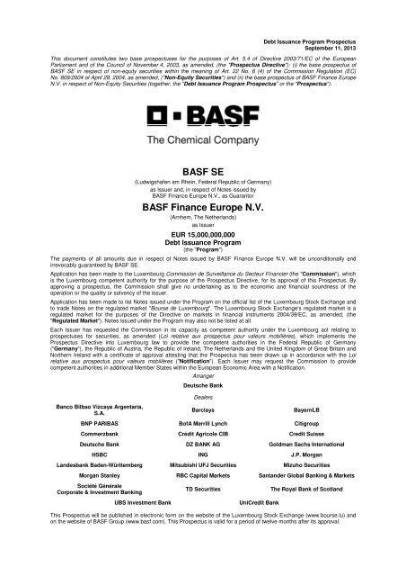 Basf Se Basf Finance Europe Nv Basfcom