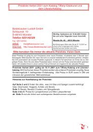 Preisliste Herbst 2001 zum Katalog Tiffany-Glaskunst und dem ...