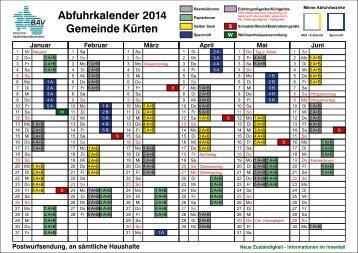 Abfuhrkalender 2014 - Bergischer Abfallwirtschaftsverband