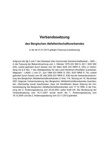Verbandssatzung 2013 - Bergischer Abfallwirtschaftsverband
