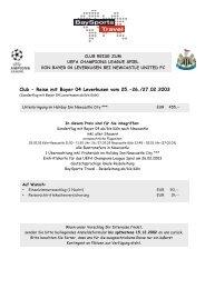 Club - Reise mit Bayer 04 Leverkusen vom 25.-26./27.02.2003