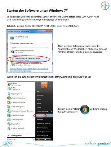 Starten der Software unter Windows 7®
