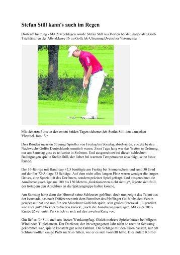 Stefan Still kann's auch im Regen - Bayerischer Golfverband