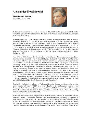 a biography of the then Polish President Aleksander ... - BBC
