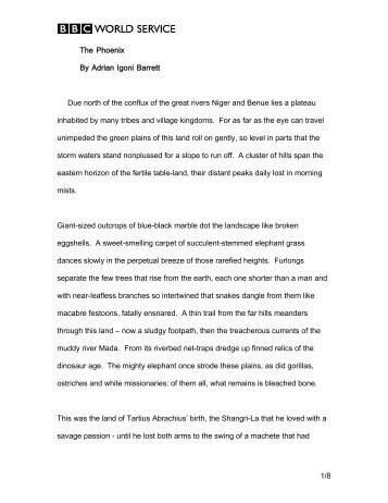1/8 The Phoenix By Adrian Igoni Barrett Due north of the ... - BBC