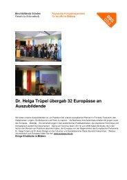 BBS OHZ / Dr. Helga Trüpel übergab 32 Europässe an Auszubildende