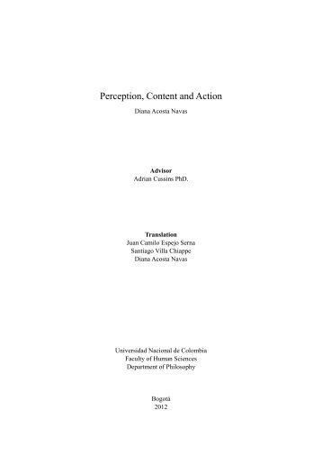 Perception, Content and Action - Universidad Nacional de Colombia