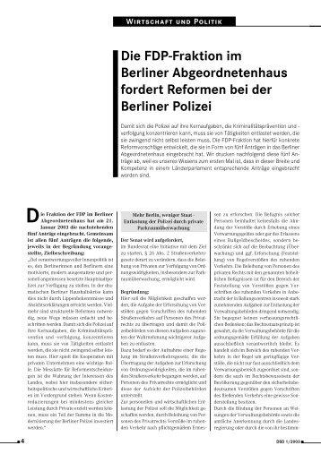 Die FDP-Fraktion im Berliner Abgeordnetenhaus fordert ... - BDSW
