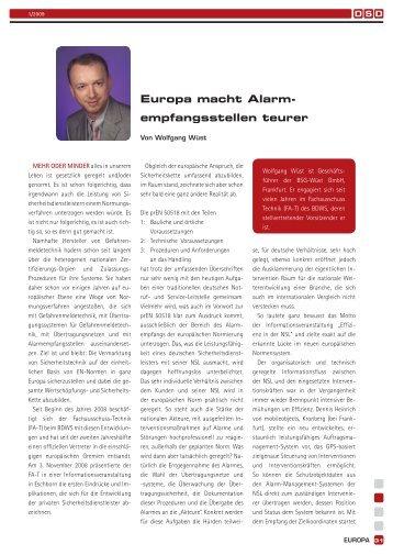 Europa macht Alarmempfangsstellen teuer - BDSW