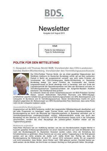 Newsletter von Juli 2013