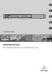 EUROCOM SPL3220 Controls - Behringer