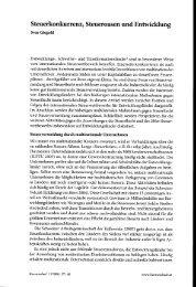 Steuerkonkurrenz, Steueroasen und Entwicklung - BEIGEWUM